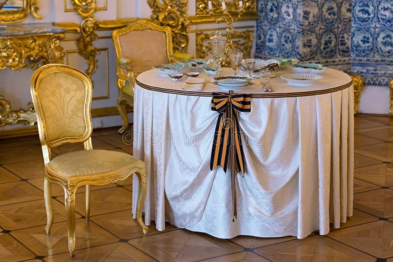 Interiore lussuoso del palazzo Tsarskoye Selo Pushkin, St Petersburg, Rus fotografia stock libera da diritti