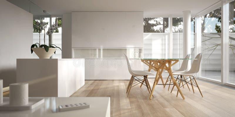 Interiore minimalista bianco con la tabella pranzante illustrazione vettoriale