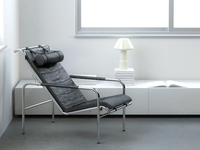 Interiore minimalista con la poltrona di cuoio moderna illustrazione di stock