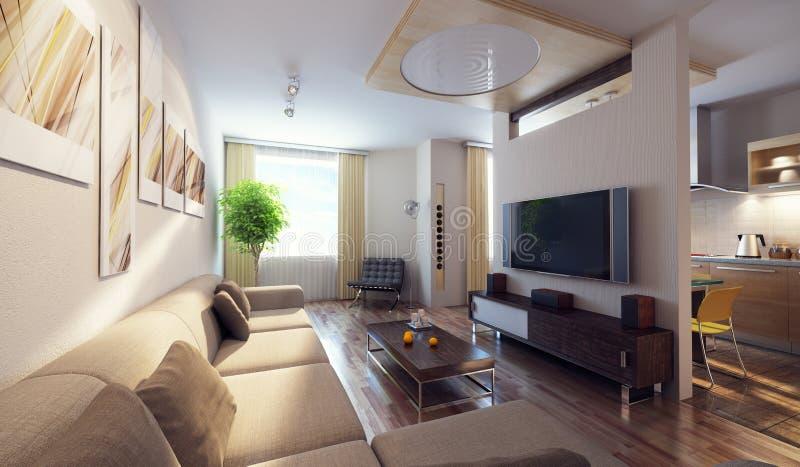 Interiore moderno 3d illustrazione vettoriale