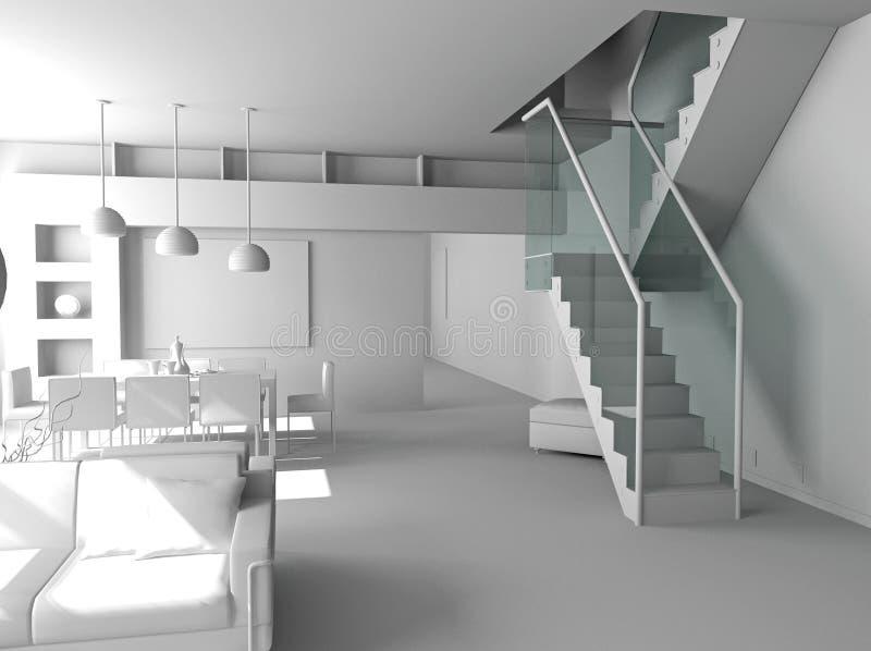 Interiore moderno in bianco immagine stock libera da diritti