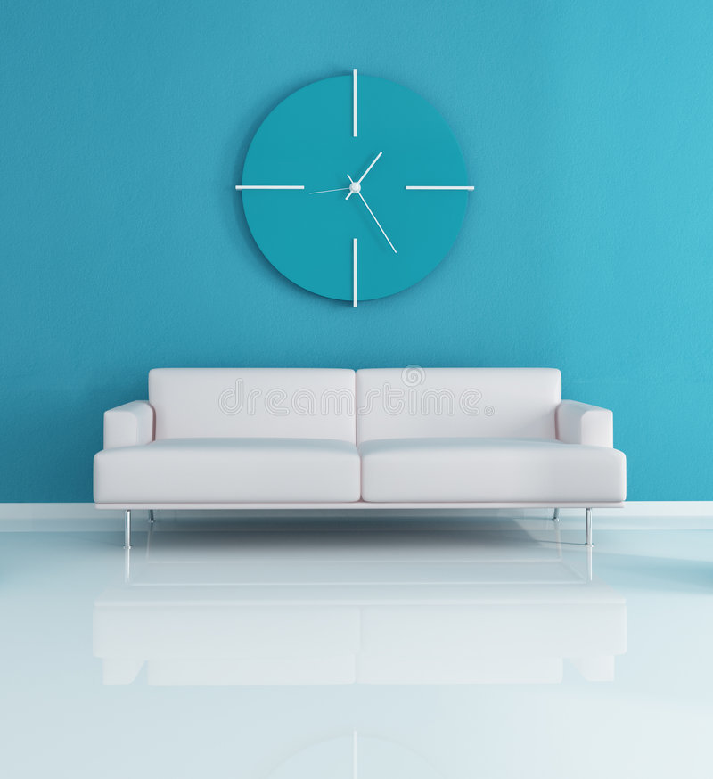 Interiore moderno blu illustrazione vettoriale
