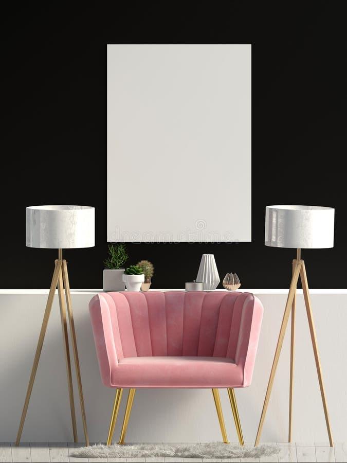 Interiore moderno con il sofà Derisione del manifesto su illustrazione vettoriale