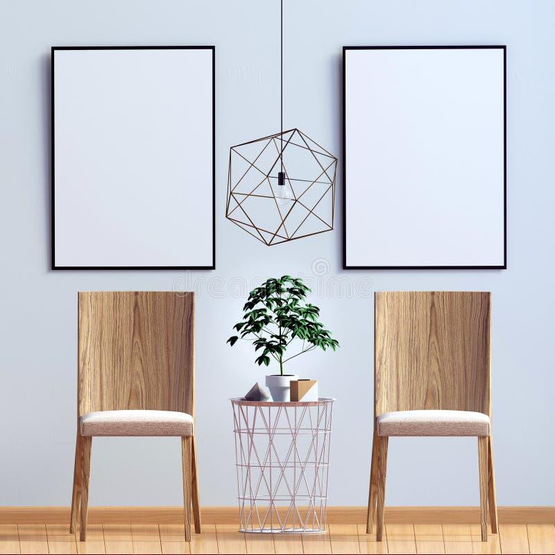 Interiore moderno con la presidenza Derisione del manifesto su illustrazione vettoriale