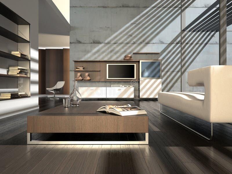 interiore moderno con plasma TV illustrazione di stock