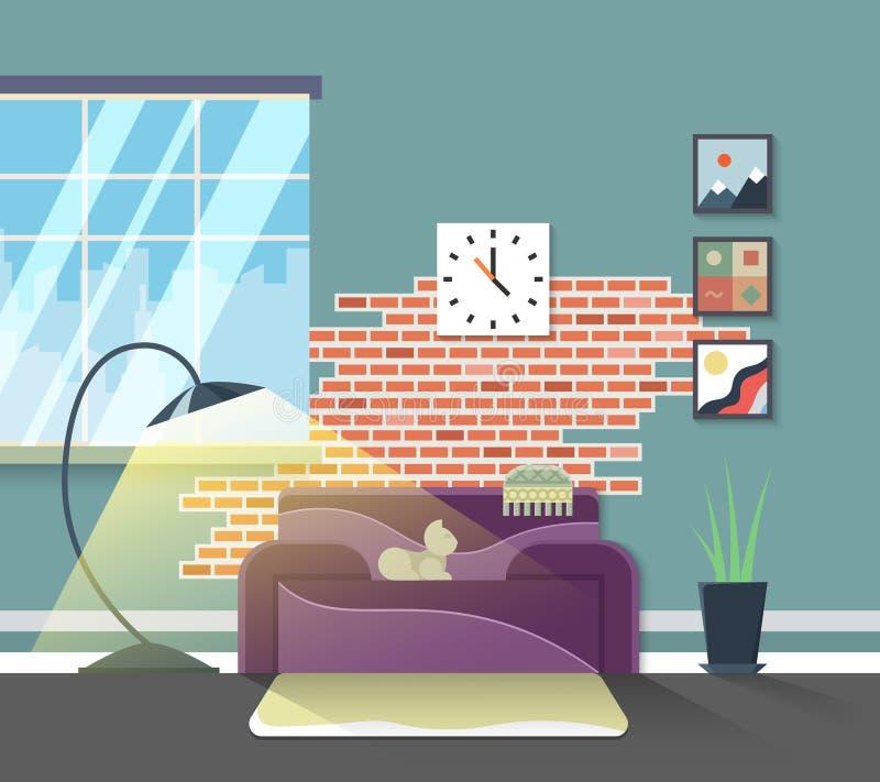 Interiore moderno del salone Mobilia domestica di vettore illustrazione vettoriale