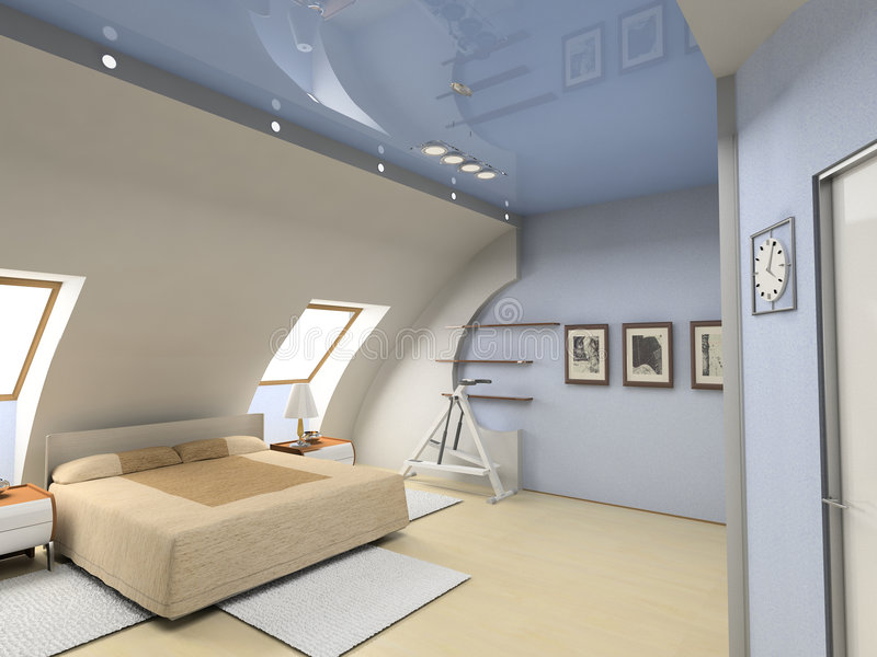 Interiore moderno della camera da letto illustrazione vettoriale