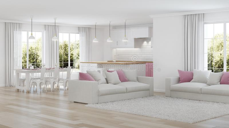 Interiore moderno della casa Interiore bianco fotografia stock libera da diritti