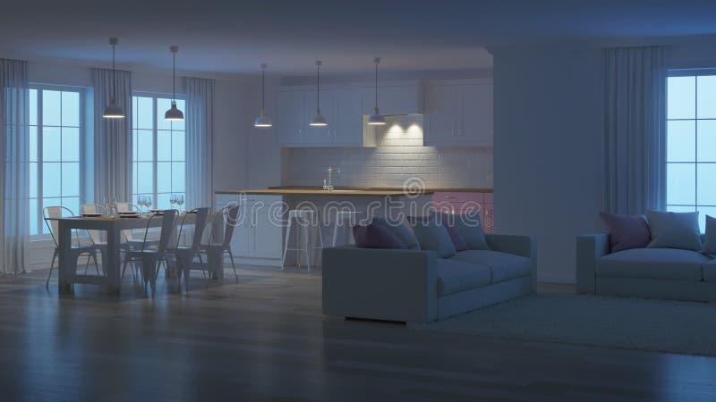 Interiore moderno della casa Illuminazione di sera rappresentazione 3d illustrazione vettoriale