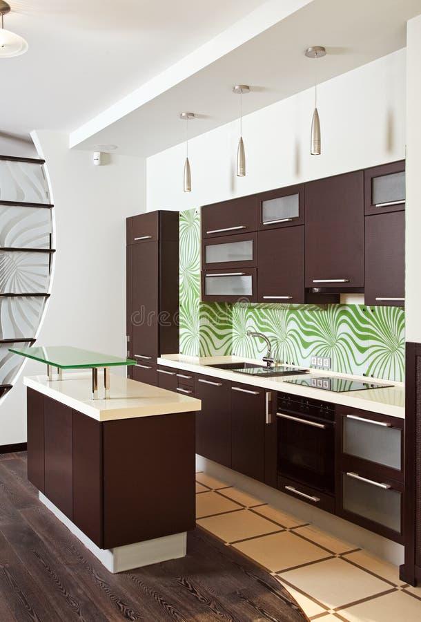 Interiore moderno della cucina con la mobilia del legno duro immagine stock libera da diritti