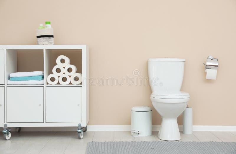 Interiore moderno della stanza da bagno Stoccaggio dei rotoli di carta igienica immagini stock libere da diritti