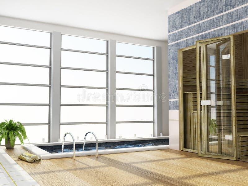 Interiore moderno di una sauna illustrazione di stock