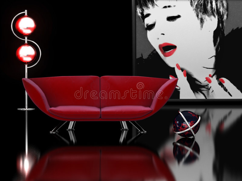 Interiore in nero e nel colore rosso illustrazione di stock