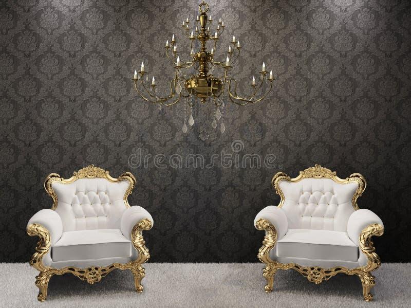 Interiore reale. lampadario a bracci con le poltrone fotografia stock