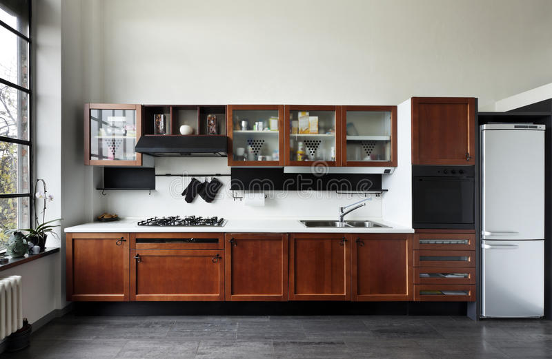 interiore, vista della cucina fotografie stock