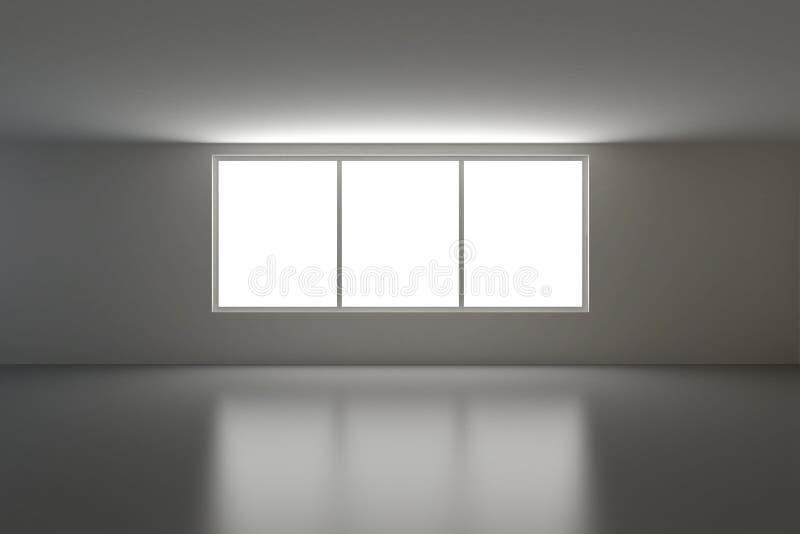 Interiore vuoto, tre finestre royalty illustrazione gratis