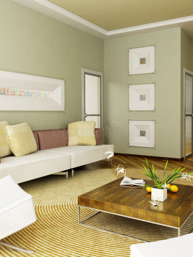 interioren 3d framför stock illustrationer