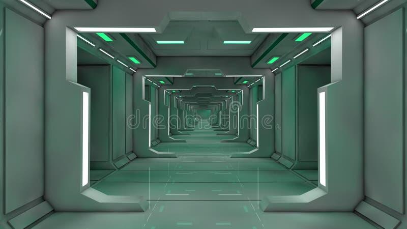 interioren 3d framför futuristic hall royaltyfri illustrationer