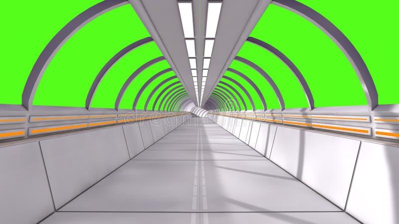 interioren 3d framför Futuristiskt hall och grön skärm stock illustrationer