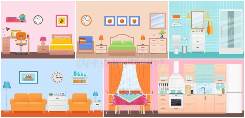 Interiores da sala Ilustração do vetor no projeto liso Desenhos animados hous ilustração stock