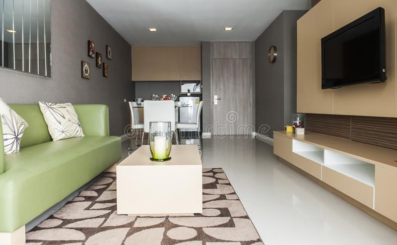 Interiores de la decoración de la sala de estar imagen de archivo