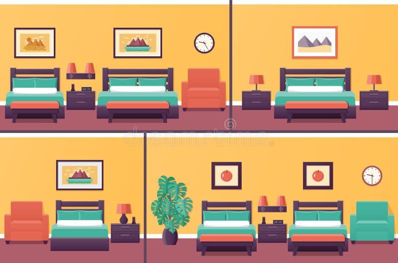 Interiores de las habitaciones Dormitorio en diseño plano con la cama Vector stock de ilustración