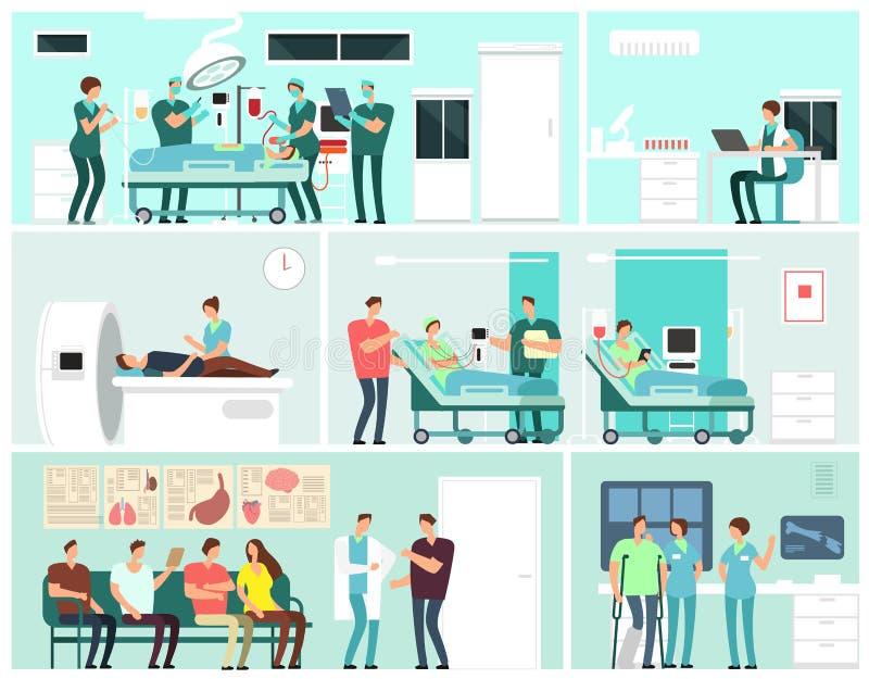 Interiores del hospital con los pacientes, los doctores, la enfermera y el equipamiento médico Concepto del vector del servicio d ilustración del vector