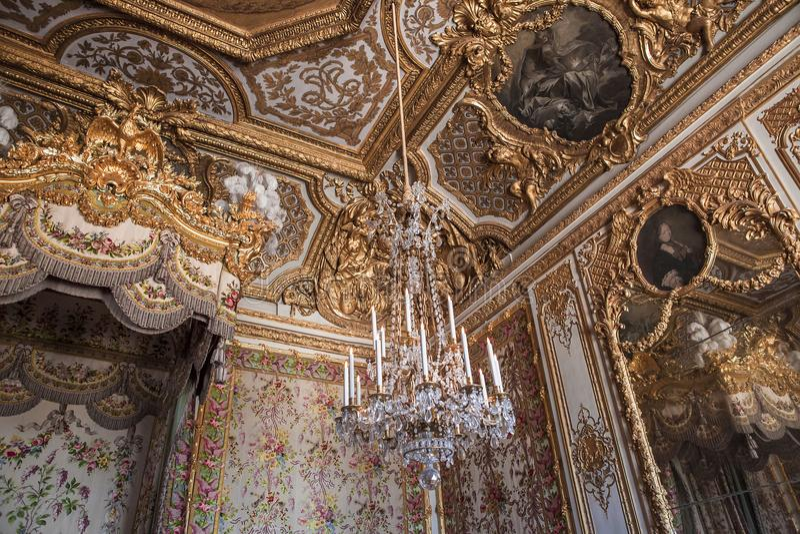 Interiores e detalhes do castelo de Versalhes, França fotografia de stock royalty free