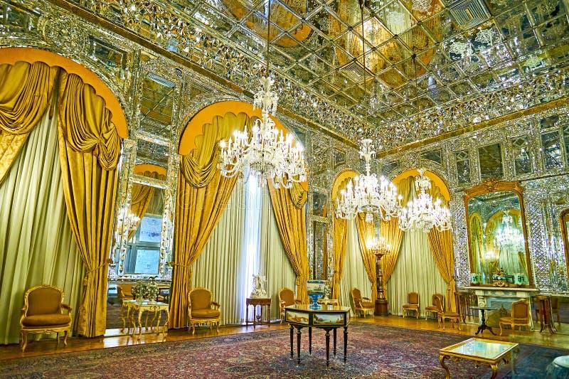Interiores inusuales del palacio de Golestan, Teherán fotos de archivo