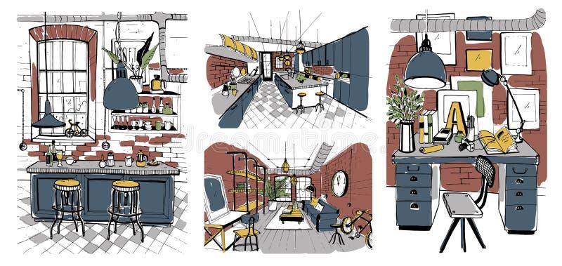 Interiores modernos de los cuartos en estilo del desván Sistema del ejemplo colorido dibujado mano ilustración del vector
