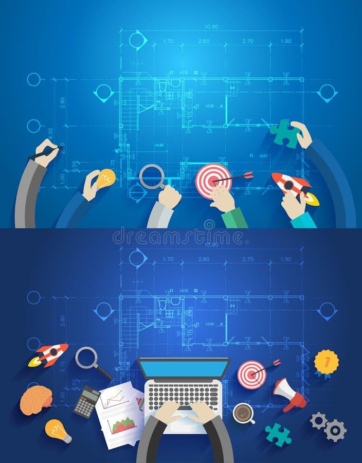 Interiorista del vector que discute los datos que trabajan en el ordenador portátil libre illustration
