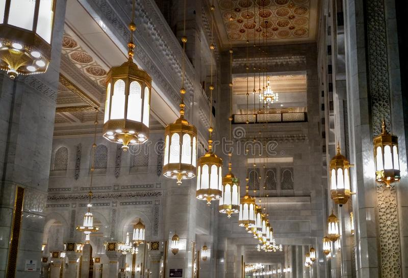 Interiors of Al-Haram mosque in Mecca royalty free stock images