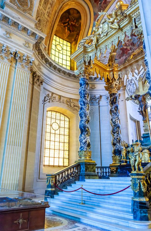 Interiors and architectural details of the Hotel des Invalides stock photo