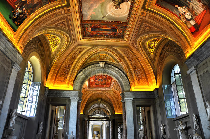 Interiors and architectural details rooms in Vatican museum,Vatican city, Vatican stock photos