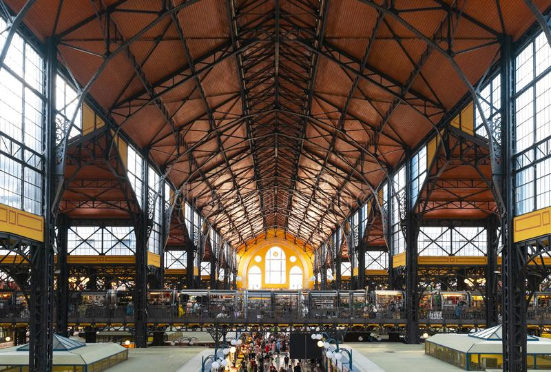 Interiors of Central Market Hall in Budapest royalty free stock photo