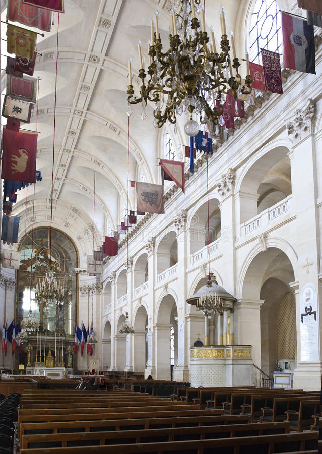 Interiors of Chapel of Saint Louis des Invalides in Paris on March 14, 2012 in in Paris, France stock photos