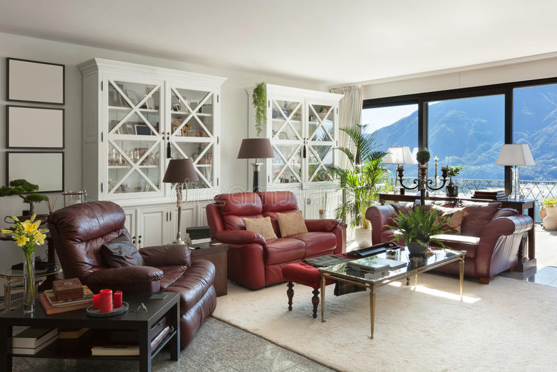 Interiors, comfortable living room royalty free stock photography