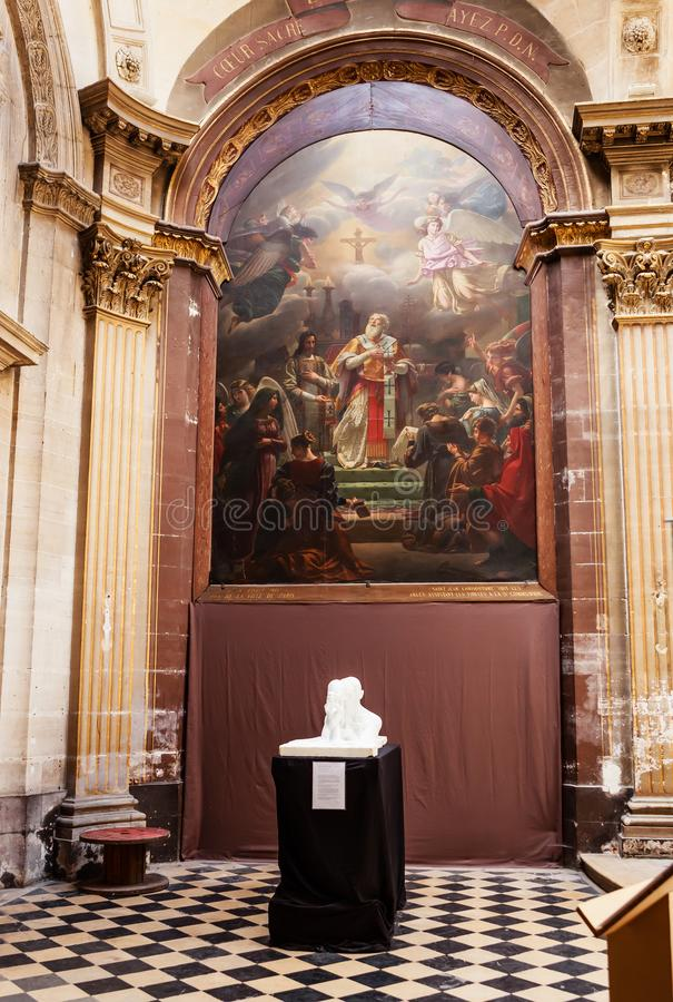 Interiors decor of saint-roch church, Paris stock photos