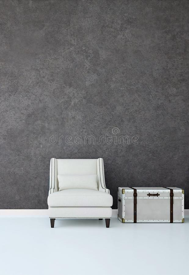 Download The Interiors Design Idea Of Luxury Lounge Chair And Concrete Wall Background Stock Illustration - Chairs