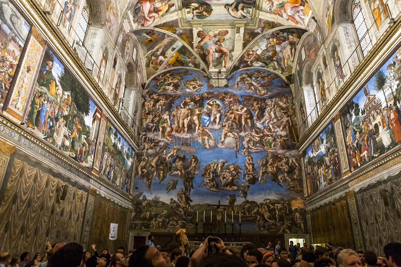 Interiors and details of the Sistine Chapel, Vatican city royalty free stock images