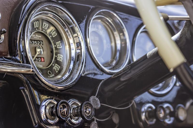 Interiors details of a Vintage Police car Alfa Romeo,1900 super. stock images