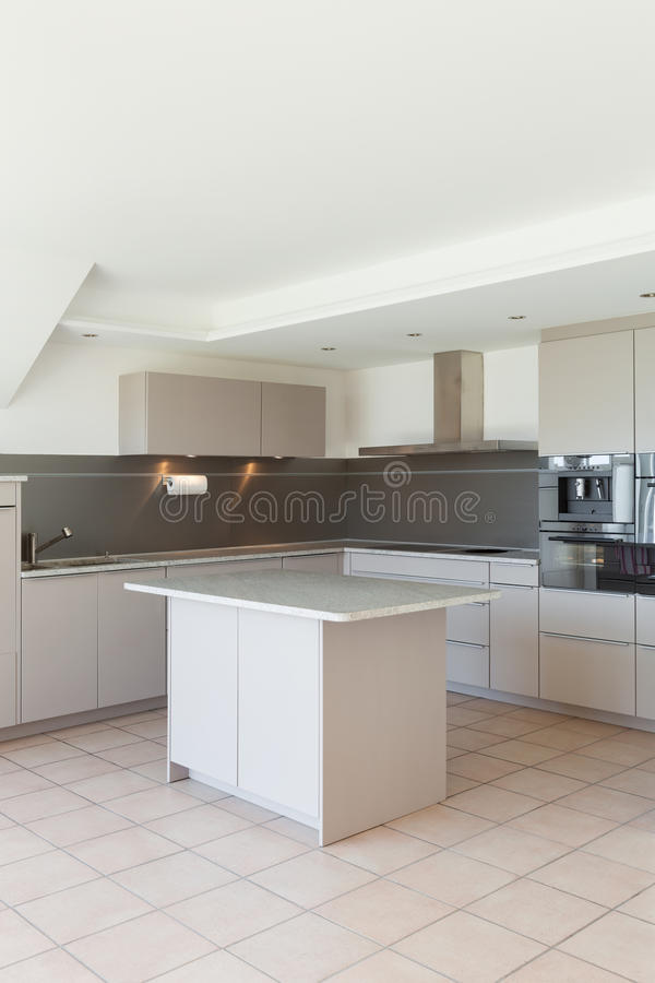 Interiors, domestic kitchen. Architecture, domestic kitchen of a modern house royalty free stock photos
