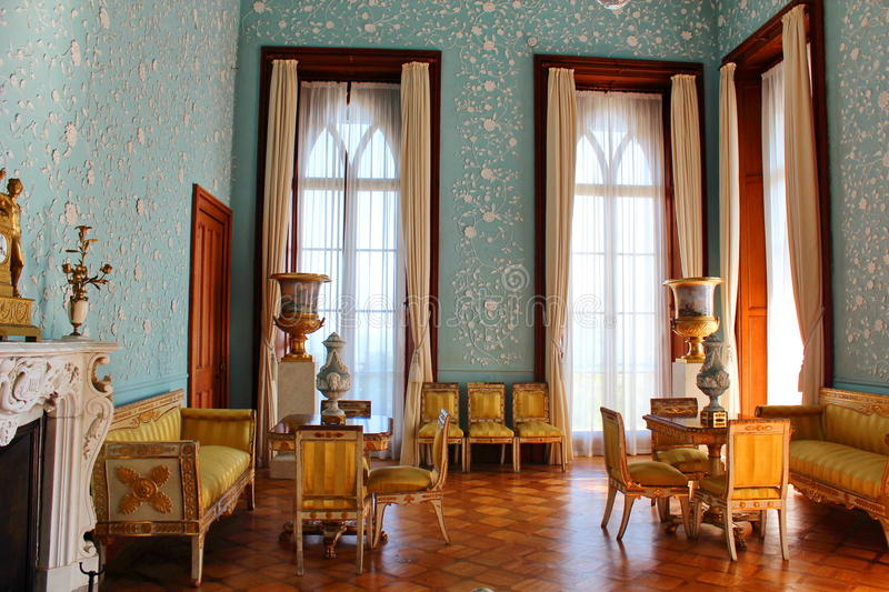 Interiors of halls in Vorontsov Palace in Alupka, Crimea. Vorontsov Palace is located in Alupka (Crimea) at the foot of Mount Ai-Petri. Built of diabase, which royalty free stock photos