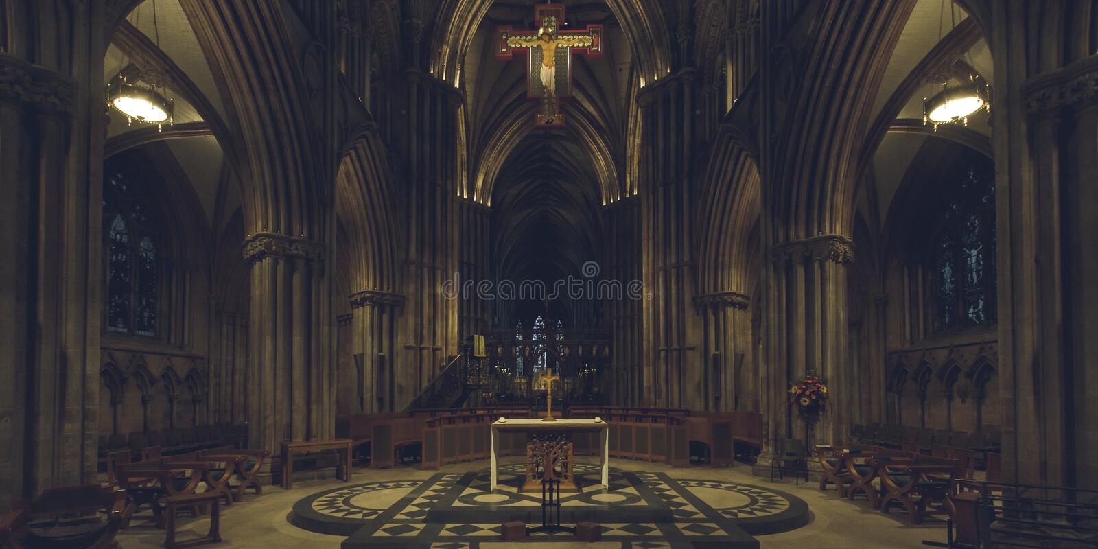 Interiors of Lichfield Cathedral - Nave and Altar. Lichfield, England - Oct 15, 2018: Interiors of Lichfield Cathedral - Nave and Altar stock images