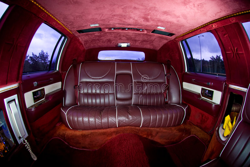Interiors of limousine. A fisheye view of the interiors of an Excalibur limousine stock photos