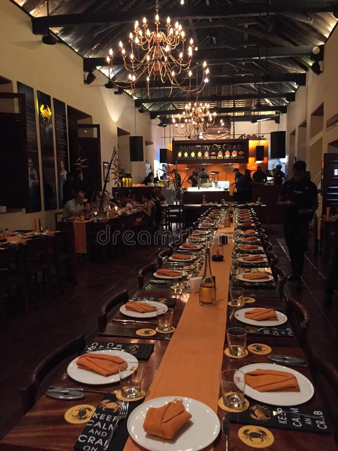Interiors of Ministry of Crab restaurant Colombo royalty free stock images