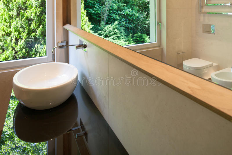 Interiors, modern bathroom stock image