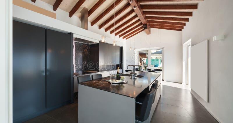 Interiors, modern kitchen stock photography