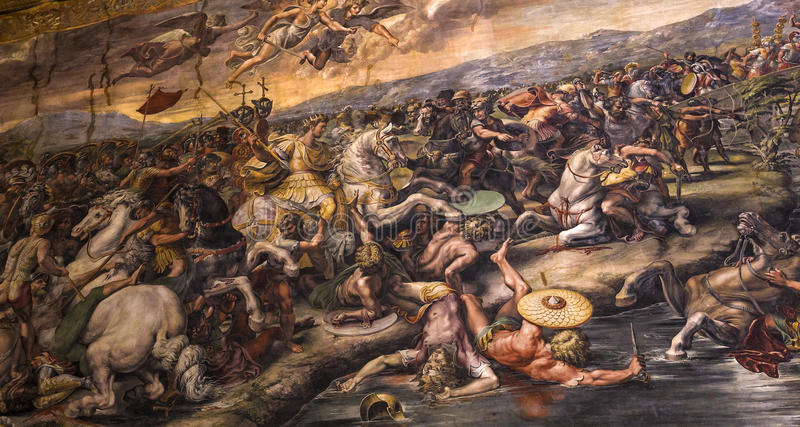 Interiors of Raphael rooms, Vatican museum, Vatican. Interiors and architectural details of Raphael rooms in Vatican museum, june 12, 2015, in Vatican city stock image