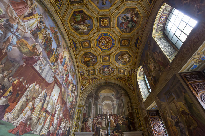 Interiors of Raphael rooms, Vatican museum, Vatican. VATICAN CITY, VATICAN, JUNE 12, 2015 : interiors and architectural details of Raphael rooms in Vatican royalty free stock image